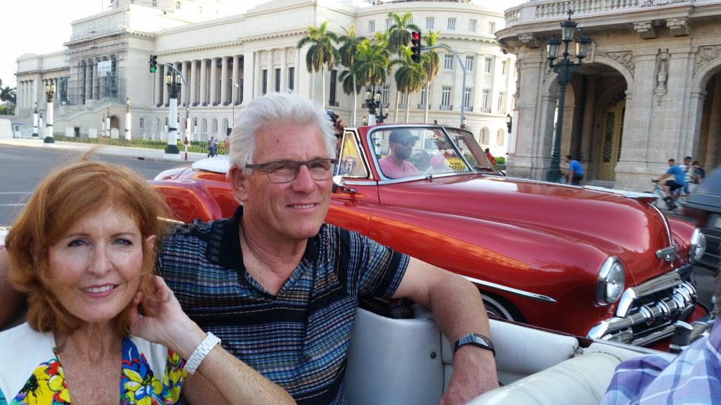Clients on an Air Journey private pilots tour in 1950s classic car, Havana, Cuba; copyright Christopher P Baker